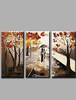 pronto para pendurar a pintura a óleo pintados à mão esticada sobre a arte da parede da lona contempory árvores abstratas estrada três