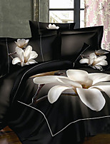 3D Duvet Cover Set 4-Piece Big Magnolia Flower Print