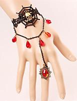 Vintage Black Lace Skeleton Spider Web Bracelet With Rings