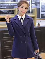 Women's Solid Blue Preppy Style Slim Coat , Casual Long Sleeve Tweed