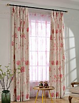 (Two Panel)Country Blossom Printed Cotton Energy Saving Curtain