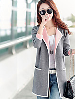 Women's Solid Pink / Red / Gray Cardigan , Vintage / Casual / Work Long Sleeve