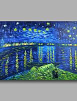 peinture à l'huile abstraite toile van peint à la main Gogh Nuit étoilée sur le Rhône repro déco maison un panneau