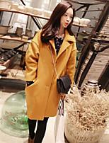 Women's Solid Yellow Coat , Casual Long Sleeve Faux Fur