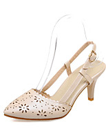 Women's Shoes Leatherette Stiletto Heel Ankle Strap / Styles / Open Toe Sandals Outdoor / Casual Blue / Pink / Beige