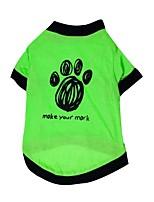 Chat / Chien T-shirt / Vêtements / Vêtements Vert Eté / Printemps/Automne Floral / Botanique Mode-Pething®