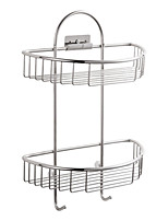 ENZORODI Double Bathroom Shelves Basket,Chrome Finishd Stainless Steel,Bathroom Accessories ERD7568C