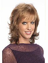 Natural Light Brown Curly Short Hair Wigs with Side Bang