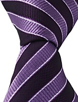 Black Purple Stripes Men Necktie Leisure Jacquard Woven Tie