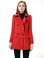 Women's Solid Red Coat , Casual Long Sleeve Wool Blends