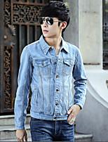 Men's Vintage Pure Long Sleeve Slim Lapel Jacket , Cotton / Denim Casual / Plus Sizes