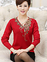 Women's Korean Middle-aged Embroidered V-collar Slim Knitwear