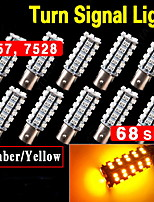 10 XAmberYellow 1157 BA15S LED 68SMD Light bulbs Tail Backup RV Camper 1141 1003