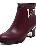 Chaussures Femme - Décontracté - Noir / Bordeaux - Gros Talon - Bottes à la Mode - Bottes - Similicuir