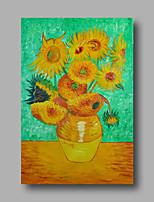 peinture à l'huile abstraite toile van gogh repro tournesols peints à la main verte déco maison un panneau