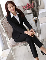 Women's Solid Blue / Black / Gray Blazer , Work / Plus Sizes Notch Lapel Long Sleeve