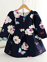 Girl's Fashion Simplicity  Cotton Blend   Fall/Spring Flowers Printing  Princess Dress