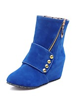 Women's Shoes Leatherette Wedge Heel Wedges /  Round Toe Boots Outdoor / Office & Career / Casual Black / Blue / Brown
