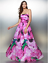 Formal Evening Dress - Print A-line Strapless Ankle-length Chiffon