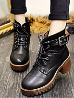 Women's Shoes Synthetic Chunky Heel Closed Toe Boots Outdoor / Casual Black / Brown