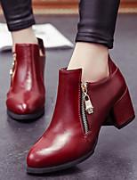 Women's Shoes  OL Style Pump Chunky Heel Heels / Pointed Toe Heels Office & Career / Dress Black / Red