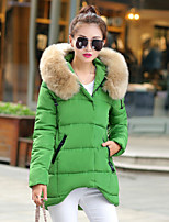Women's Solid New Arrival Slim All Match  Pink / White / Black / Green / Gray Parka Coat , Casual Hooded Long Sleeve