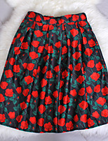 Fashion Women's Red Flowers Printing Slim Elastic Waist Knee-length Luxury Skirts
