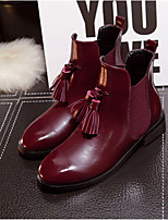 Women's Shoes  Low Heel Round Toe Boots Casual Black / Silver / Burgundy