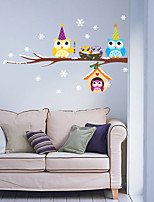 Christmas Owl PVC Wall Stickers  Christmas Decoration