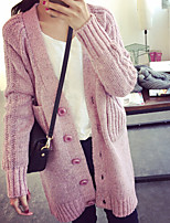 Women's Solid Pink / Black / Yellow / Gray Cardigan , Casual Long Sleeve