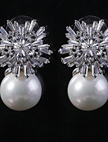 Gorgeous Wedding Jewelry Luxury Pearls Rhinestones Party Earrings Bridal Earrings Ear Stud (with Gift Box)