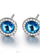 925 Sterling Silver Crystal Earring Studs Women Fashion Jewelry