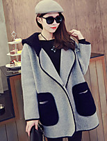 Women's Color Block Gray Hooded Cardigan , Casual Long Sleeve