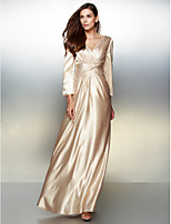 Formal Evening Dress - Champagne A-line V-neck Floor-length Charmeuse
