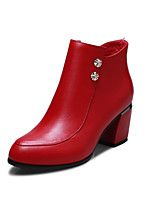 Women's Shoes Leather Chunky Heel Fashion Boots  / Party & Evening / Casual Black / Red / Burgundy