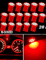 20X Red T10 W5W 158 168 192 194 906 8-SMD LED Dash Speedometer Instrument Light