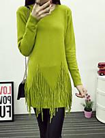 Damen Pullover  -  Sexy / Leger Strickware Undurchsichtig Langarm