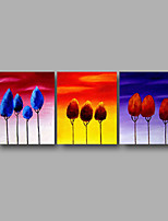 Hand-Painted Oil Painting on Canvas Wall Art Contempory Abstract Trees Sunrise Home Deco Three Panel Ready to Hang