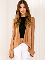 Women's Europe Fashion Cowl Camel Irregular Cardigan Coat , Casual / Work Long Sleeve