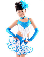 Latin Dance Outfits Children's Performance Cotton / Spandex / Polyester Ruffles 5 Pieces Lake Blue
