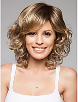 Blonde Medium  Synthetic Wave Wigs With A Bang