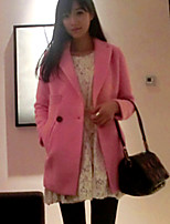 Women's Solid Blue / Pink / White Coat , Casual Long Sleeve Tweed