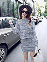 Women's Solid Red / Gray Dress , Set  Casual Long Sleeve