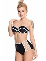 De las mujeres Bikini - Color Único Sujetador Acolchado - Bandeau - Nailon / Espándex
