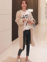 Women's Solid Pink / Black / Green / Beige Cardigan , Casual Long Sleeve
