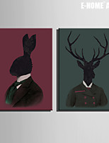 E-HOME® Stretched Canvas Art Mr. Rabbit And Deer Decoration Painting  Set of 2