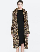 Women Fashion Leopard Print Faux Fur Outerwear , Lined