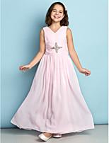 Vestido de Daminha de Honra - Rosa Linha-A Decote em V Longuete Chiffon