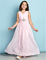 Enkellengte Doek Junior bruidsmeisjesjurk - Blozend Roze A-Lijn V-hals