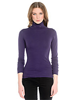 Women's Striped / Solid Purple Pullover T Shirt, Sexy / Casual Long Sleeve